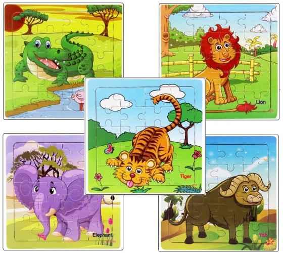 16 Teile Holzpuzzle Safari