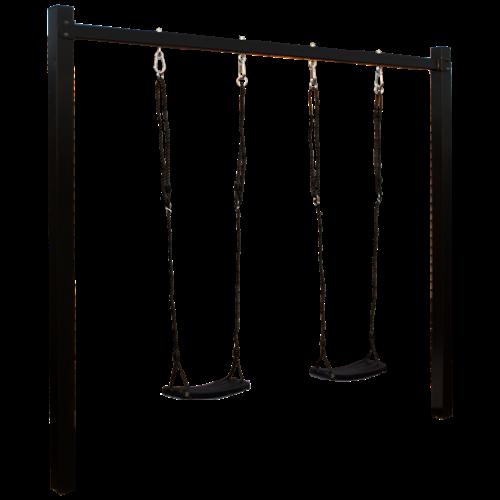 Stahl Schaukelgestell - Feuerverzinkt und pulverlackierter schwarzer Stahl - 2 Pfosten Schaukel inkl. 2 Schaukelsitze schwarz
