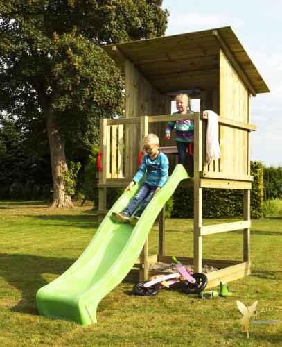 Spielturm / Holz Spielhaus RAVEN inkl. Rutsche grün
